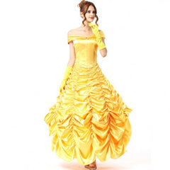 Fashion Halloween women's yellow princess dress role playing