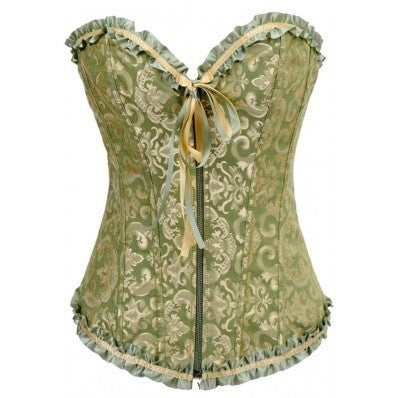 Fashion Green Blue Zipper Corset strapless