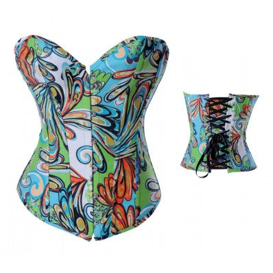 Cartoon Printing Green Denim Corset