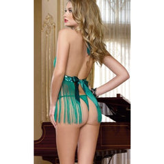 Grass green tassel sexy backless halter cleavage Adult lingerie