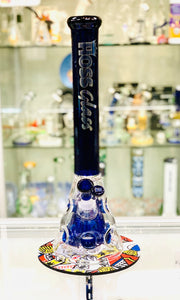 "HOSS GLASS 18"" Beaker With colored Neck Pyramid Perc."