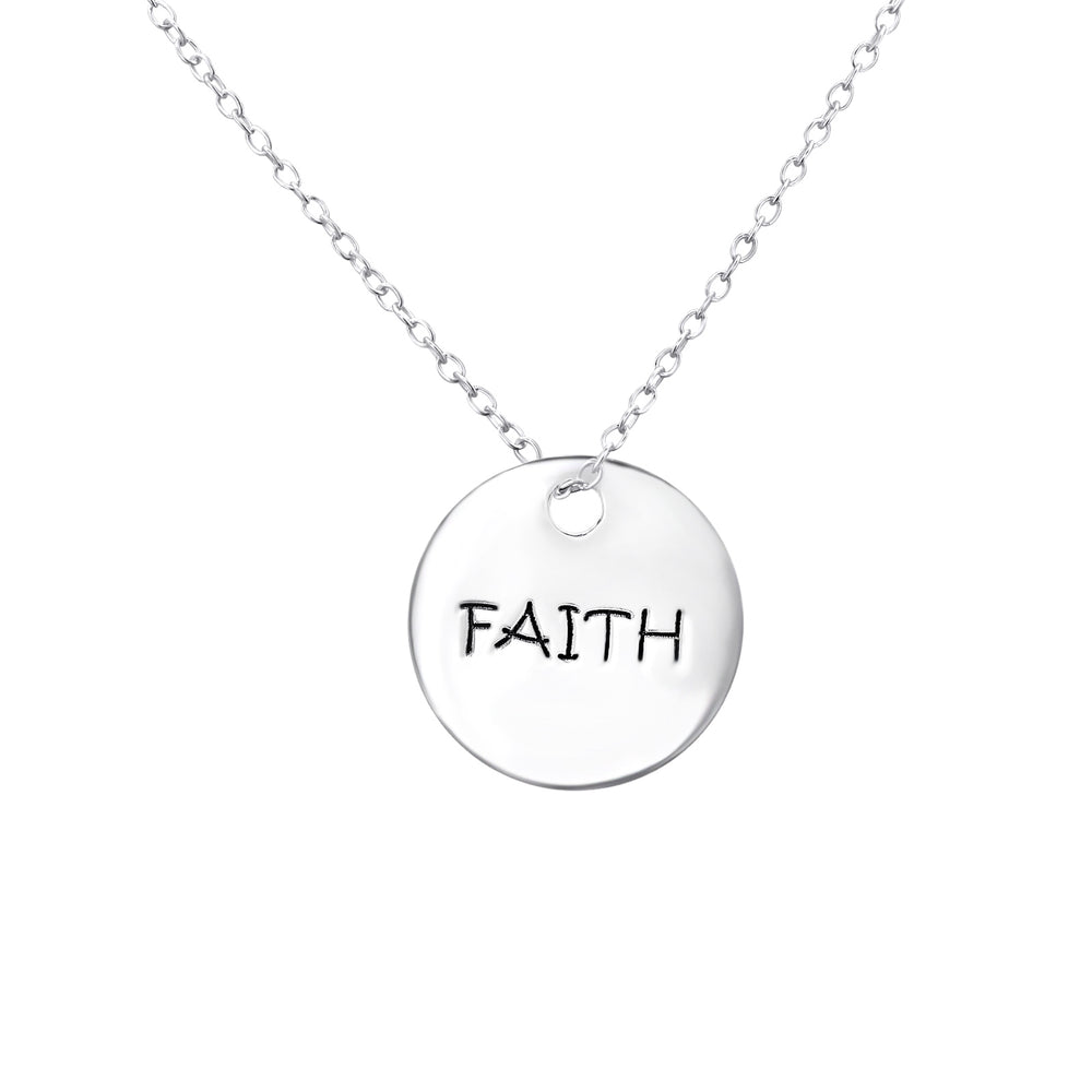 .925 Sterling silver Faith Tag necklace