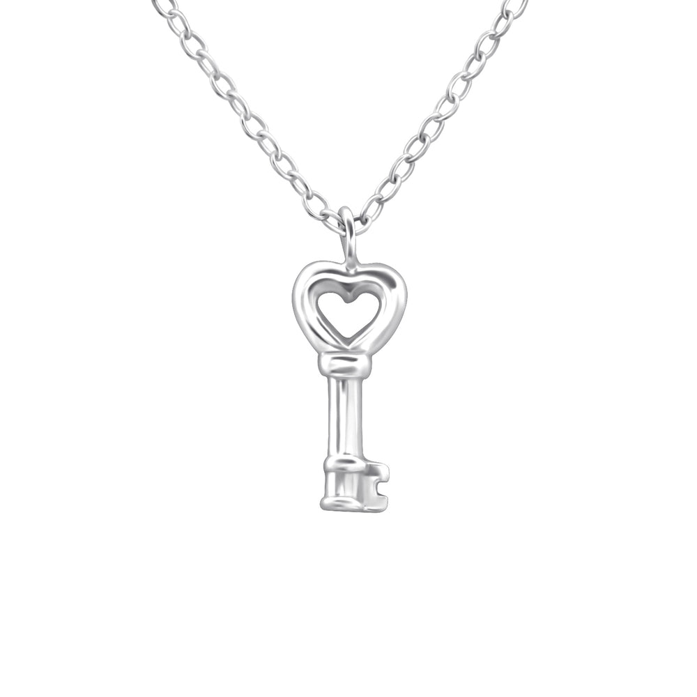 .925 Sterling Silver Key Necklace