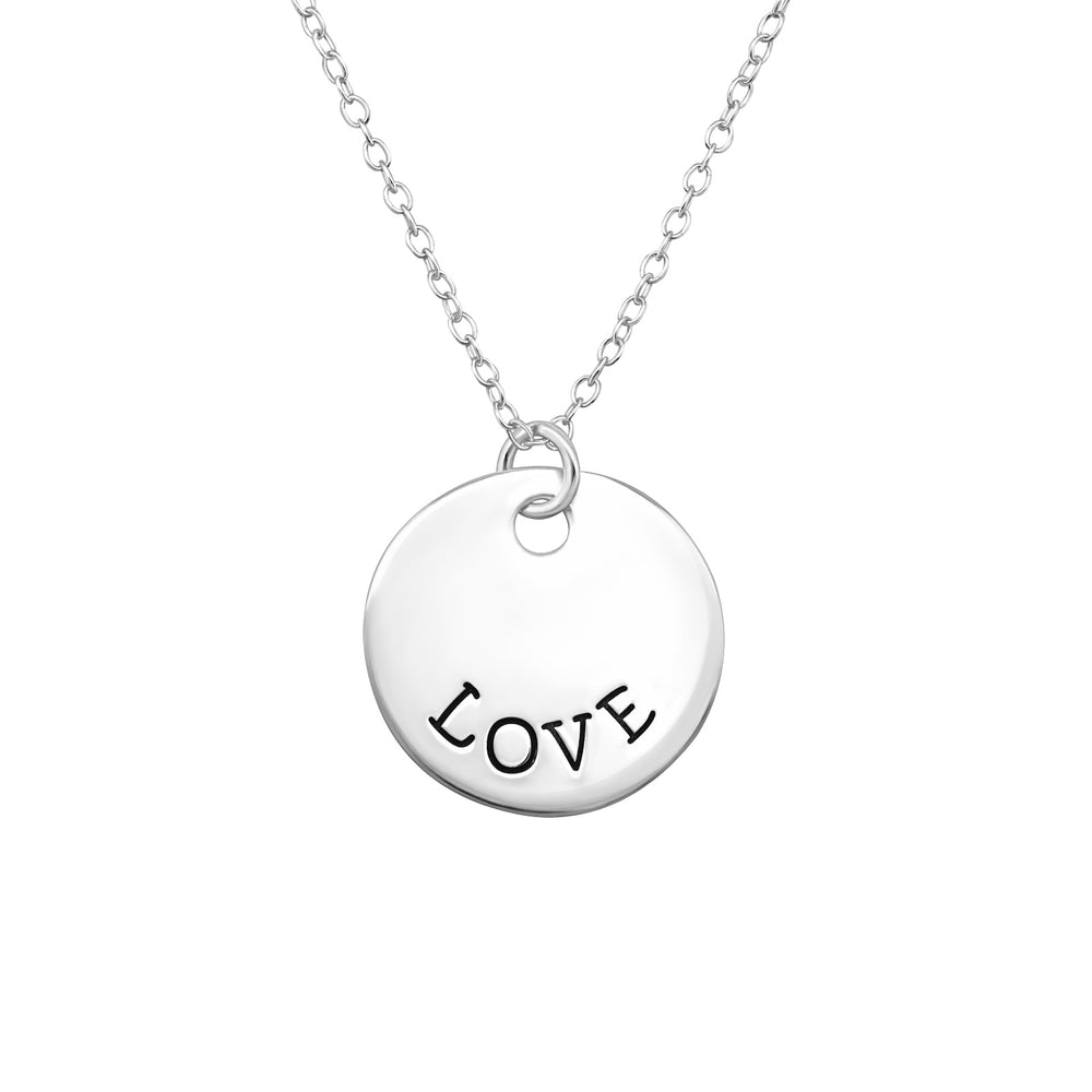 ".925 sterling silver ""Love"" Tag Necklace"