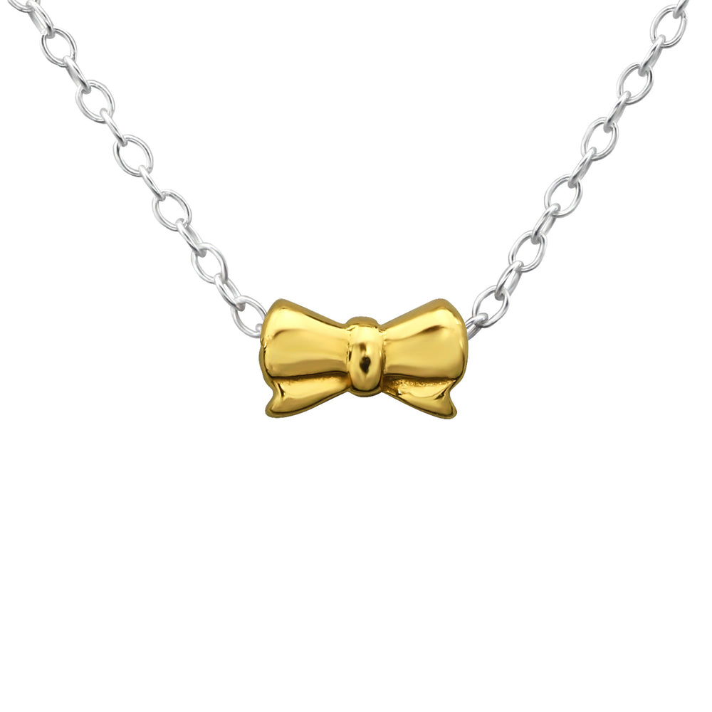 .925 Sterling Silver Bow Tie Necklace