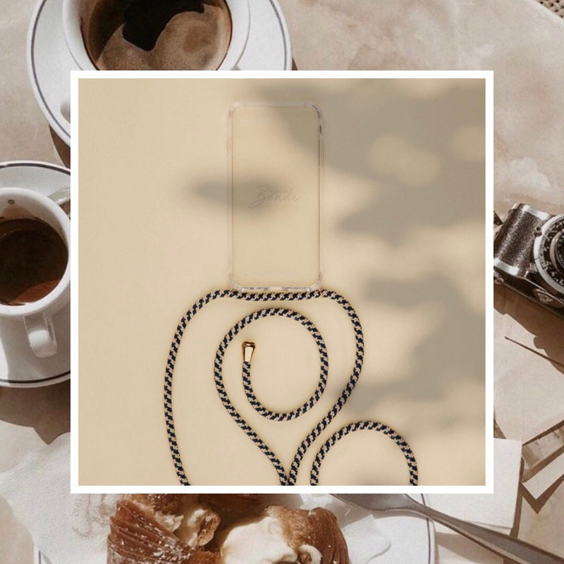 Stylish Neni mobile phone necklace from Berlinbondi on the coffee table