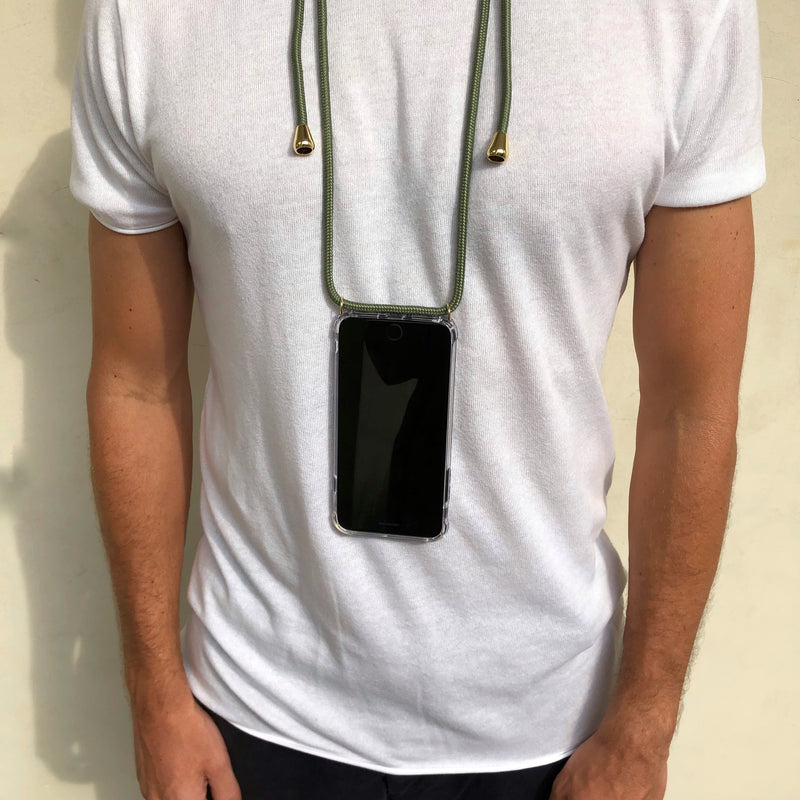 Male model wearing Cactus Phone Necklace from Berlin Bondi in Los Angeles California