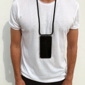 Male model wearing Midnight Black Phone Necklace from Berlinbondi in New York City