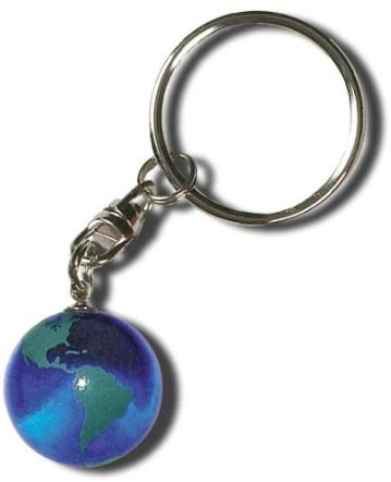 Blue Earth Marble Keytag Green Continents