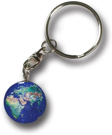 Blue Earth Marble Keytag Natural Continents