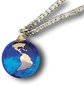 Blue Earth Marble 0.5 Inch Pendant 22k Gold Continents
