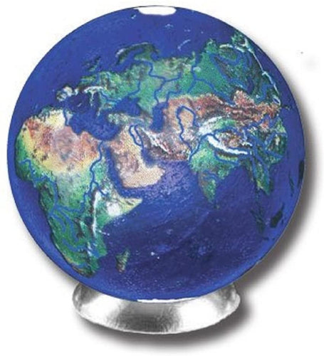 Blue Earth Marble With Natural Earth Continents, Recycled Glass With Stand