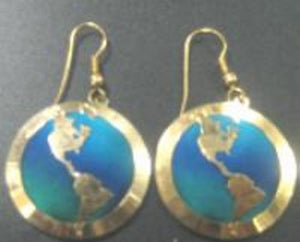 Blue-Green Silk Ocean Earrings