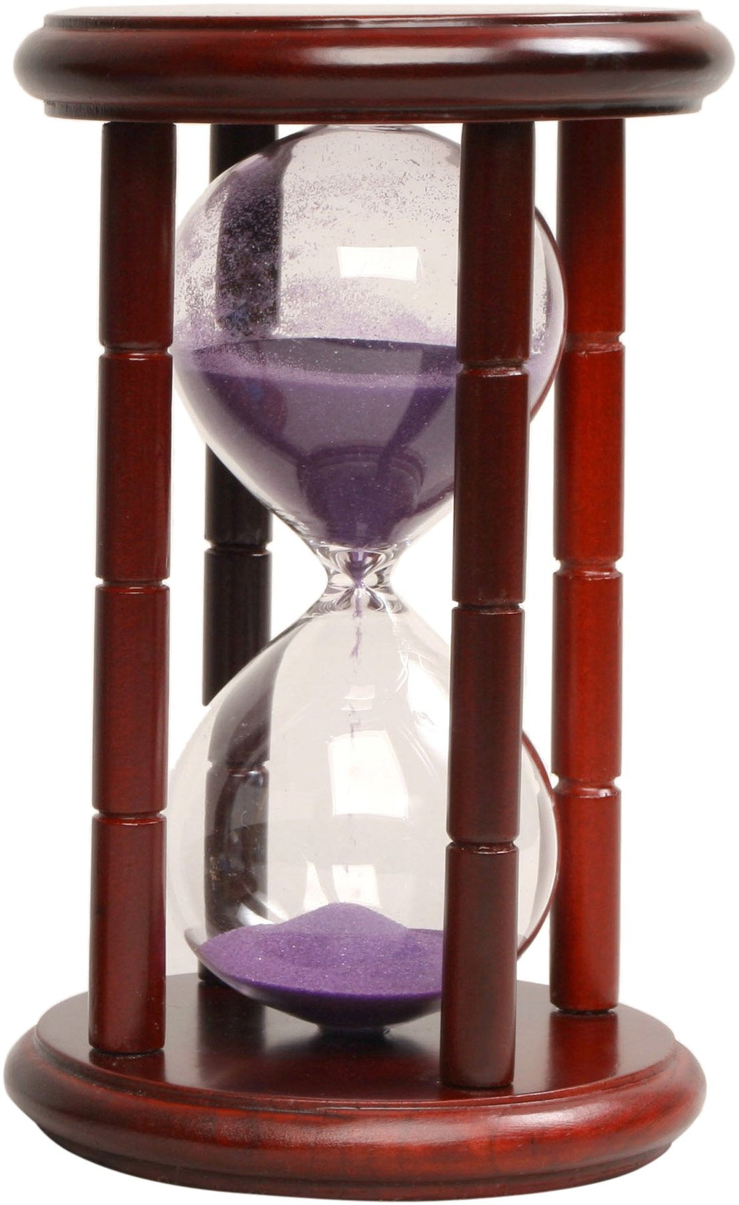 15 Minute Sand Timer Purple Sand, Cherry Stand 6.5-Inch
