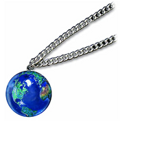 Blue Earth Marble 1 Inch Pendant