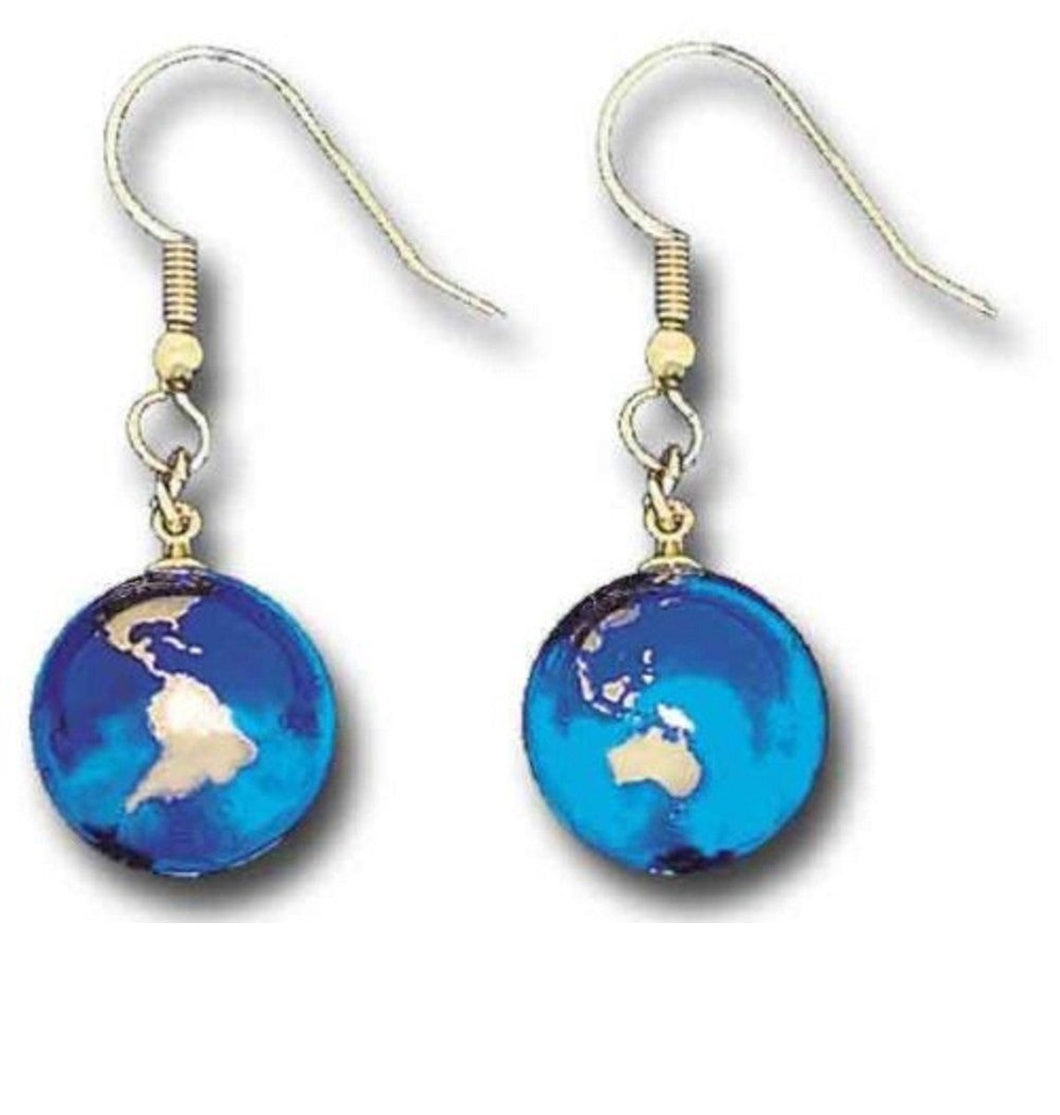 Blue Earth Marble Gold Continents Earrings