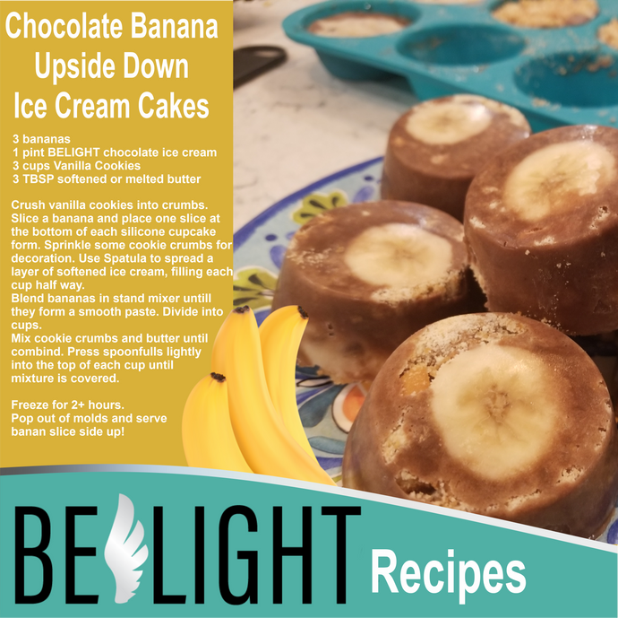 Chocolate Banana Upside Down Ice Cream Cakes (No-Bake)