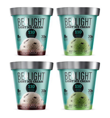 BELIGHT LIGHT ICE CREAM - CHOCOLATE CHIP (4 PACK) - SHIPPING INCLUDED