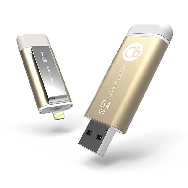 Adam Element iKlips lecteur flash le plus rapide du monde pour iPhone, iPad et iPod Touch 64 Go, Extras | Nomade.mobi