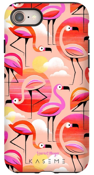 KaseMe Étui ''Tough'' Flamingo par Laura C. Moyer pour iPhone