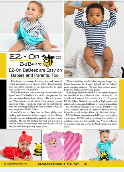 Our EZ-On BaBeez is in BabyMaternityRetail Magazine, Oct.2018.