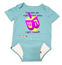 "Load image into Gallery viewer, EZ-On BaBeez Baby Bodysuit, Short Sleeve- Hanukkah ""You Spin Me Right Round"" Dreidel"