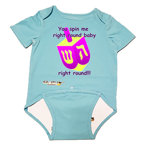 "EZ-On BaBeez Baby Bodysuit, Short Sleeve- Hanukkah ""You Spin Me Right Round"" Dreidel"