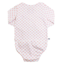 Load image into Gallery viewer, EZ-On BaBeez™ Baby Bodysuit - Red Hearts - on White - Long Sleeve