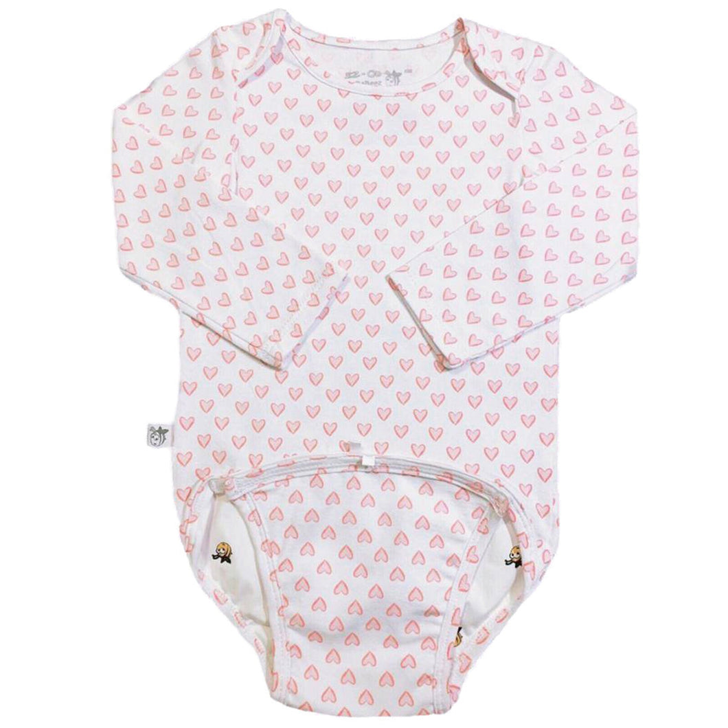 EZ-On BaBeez™ Baby Bodysuit - Red Hearts - on White - Long Sleeve