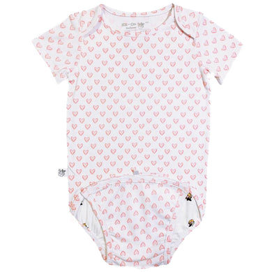 EZ-On BaBeez™ Baby Bodysuit - Red Hearts - on White - Short Sleeve
