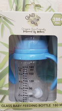 Load image into Gallery viewer, EZ-ON BABEEZ™ GAB Bee 180mL Glass Feeding Bottle in Blue