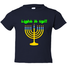 "Load image into Gallery viewer, Toddler Tees- Hanukkah ""Lite it up"" Menorah"