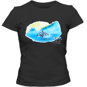 Adult Ladies Classic Tees, Mom and Baby Collection - Marine Life Series, Orcas