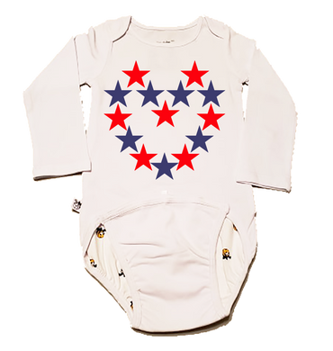 EZ-On BaBeez™ Baby Bodysuit - Americana Collection - Red and Blue Star Heart - Long Sleeve