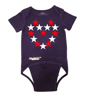 EZ-On BaBeez™ Baby Bodysuit - Americana Collection - Red and White Star Heart - Short Sleeve