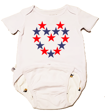 EZ-On BaBeez™ Baby Bodysuit - Americana Collection - Red and Blue Star Heart - Short Sleeve