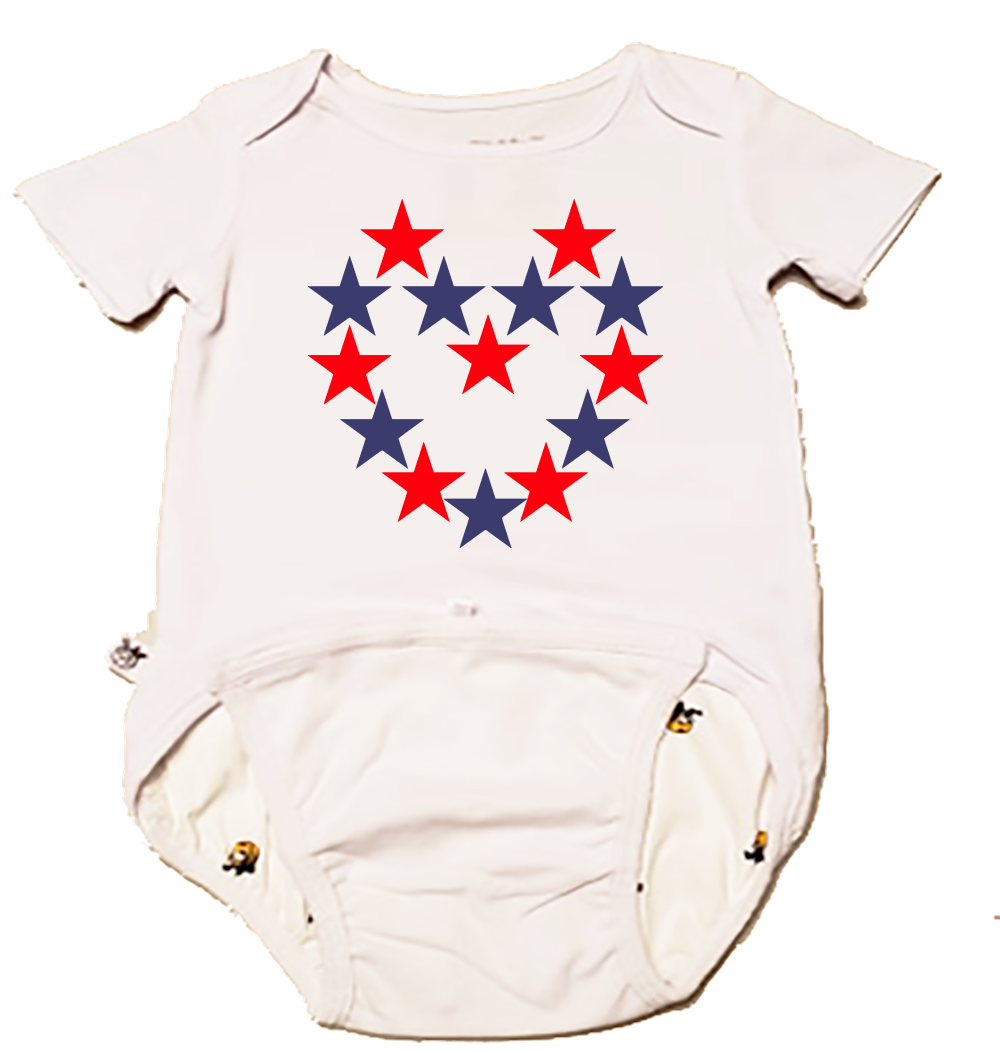 EZ-On BaBeez Baby Bodysuit, Short Sleeve, Red and Blue Star Heart