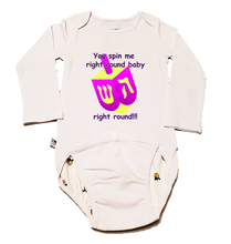 "Load image into Gallery viewer, EZ-On BaBeez™ - Holiday - Hanukkah - ""You Spin Me Right Round"" Dreidel - Baby Bodysuit, Long Sleeve"
