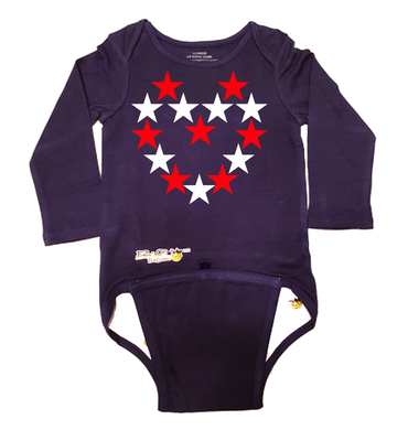 EZ-On BaBeez™ Baby Bodysuit - Americana Collection - Red and White Star Heart - Long Sleeve