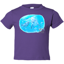 Load image into Gallery viewer, EZ-On BaBeez™ T-Shirt - Mom and Baby Collection - Marine Life Series, Dolphins - Toddler Tee