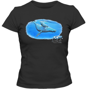 EZ-On BaBeez™ - Mom and Baby Collection - Marine Life Series, Humpback Whales - Adult Ladies Classic T-Shirt
