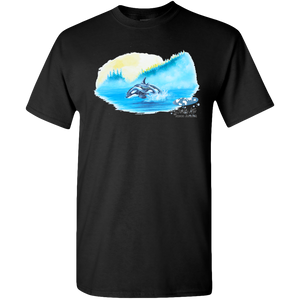 Adult Unisex Standard Tee, Mom and Baby Collection - Marine Life Series, Orcas