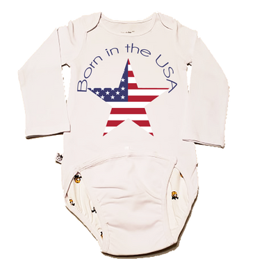 EZ-On BaBeez™ Baby Bodysuit - Americana Collection - Born in the USA - Long Sleeve