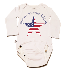 EZ-On BaBeez Baby Bodysuit, Long Sleeve, Born in the USA