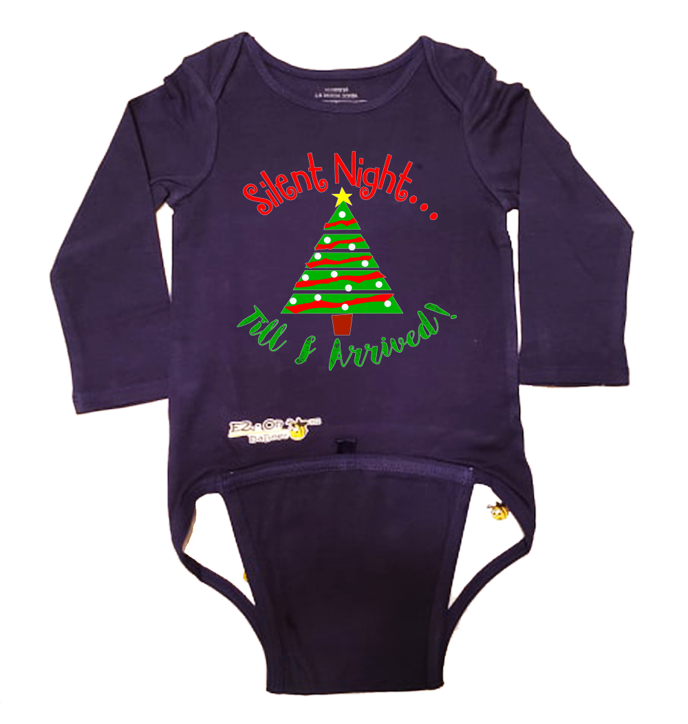 EZ-On BaBeez Baby Bodysuit, Long Sleeve- Christmas