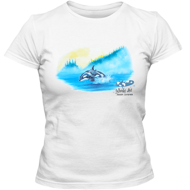 EZ-On BaBeez™ - Mom and Baby Collection - Marine Life Series, Orcas - Adult Ladies Classic T-Shirt
