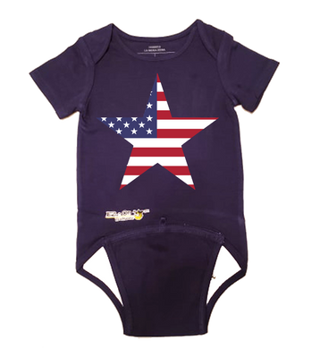 EZ-On BaBeez™ Baby Bodysuit - Americana Collection - Stars and Stripes - Short Sleeve