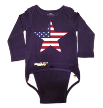 Load image into Gallery viewer, EZ-On BaBeez™ Baby Bodysuit - Americana Collection - Stars and Stripes - Long Sleeve