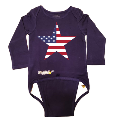 EZ-On BaBeez™ Baby Bodysuit - Americana Collection - Stars and Stripes - Long Sleeve
