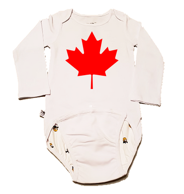 EZ-On BaBeez™ Baby Bodysuit - Americana Collection - Maple Leaf (Canada Day) - Long Sleeve